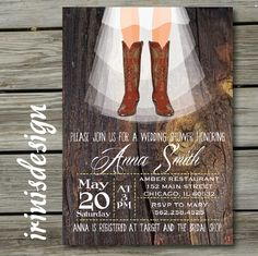 Rustic Country Cowboy Boots Shabby Chic Bridal by irinisdesign, $16.99