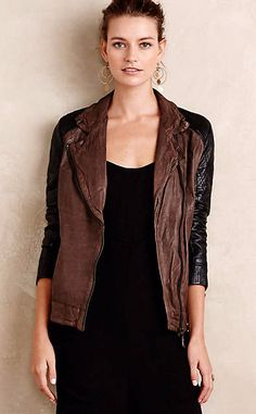 Colorblocked Leather Moto Jacket #anthrofave