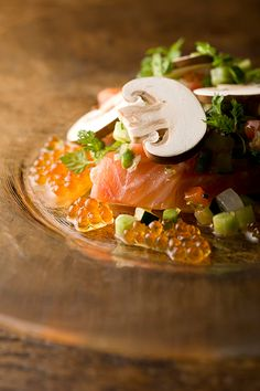 "Marinated ""KUNUGI"" Trout Sashimi and Ikura Salmon Caviar Salad, Flavored with ""YUZU"" Citron Dressing 