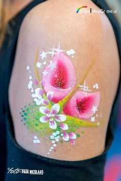 One stroke flowers- gorgeous pink lily face painting design- stencil for the green