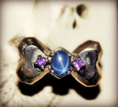 CHARMING HANDMADE Bow Ring, size 7.25, with Genuine 2.75 Blue Star Sapphire on 925 Sterling Silver