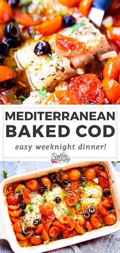 Recipes Fish Perfect for when you need a quick meal: Made in one dish with tomatoes, olives and onions, this Mediterranean Baked Cod is a healthy weeknight dinner - and such an easy way to cook fish, too! Cooking Recipes, Healthy Recipes, Cooking Fish, Fish Dinner, Dinner Outfits, Mediterranean Diet Recipes, Mediterranean Dishes, Gordon Ramsay, Seafood Dishes