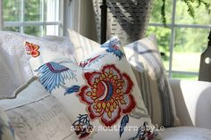 Savvy Southern Style : Remembering Red, White and Blue Decor in My Favorite Rooms Savvy Southern Style, Southern Charm, Southern Living, Pattern Mixing, Red White Blue, Throw Pillows, Quilts, Interior Design, Sunrooms