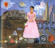 art painting portrait pink frida kahlo century mexico self-portrait Frida pink dress Frida Khalo kahlo frida kalho Self-Portrait on the Borderline Between Mexico and the United States Frida E Diego, Diego Rivera Frida Kahlo, Frida Art, Frida Kahlo Work, Frida Kahlo Portraits, Natalie Clifford Barney, Fall Inspiration, Kahlo Paintings, Oil Paintings