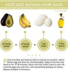 DIY Hair Mask of Avacado, Banana, Egg, and Olive Oil. Healthy hair tips Banana Hair Mask, Banana For Hair, Natural Hair Tips, Natural Hair Styles, Natural Beauty, Natural Skin, Avocado Hair, Avocado Face Mask, Avocado Egg