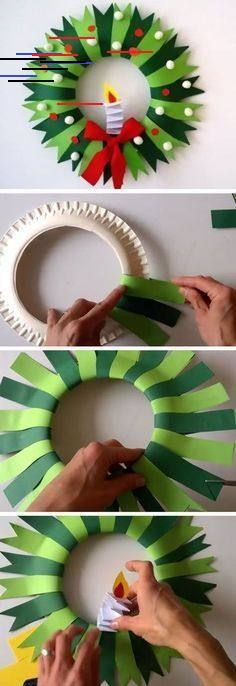 Paper plate Christmas wreath - Holiday Crafts for Kid's - Crafts for kids Diy Christmas Arts And Crafts, Christmas Activities For Kids, Holiday Crafts For Kids, Diy Christmas Ornaments, Diy Crafts For Kids, Christmas Wreaths, Kids Diy, Crafty Kids, Homemade Christmas