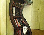 Handmade 6ft Curved Bookshelf Oak Stained/Blk