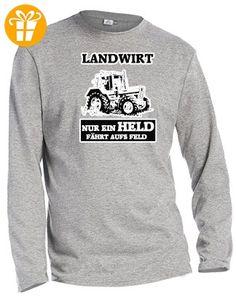 LANDWIRT - NUR EIN HELD FÄHRTS AUFS FELD - HERREN - LONGSLEEVE in Grau Meliert by Jayess Gr. L (*Partner-Link)