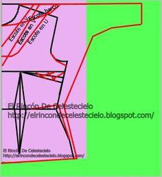 Trazo de patrón para manga dolmán sin costura sobre el hombro