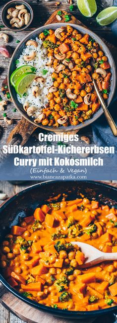 Süßkartoffel Kichererbsen Curry mit Kokosmilch