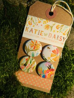 Katie Daisy pinback buttons on Etsy