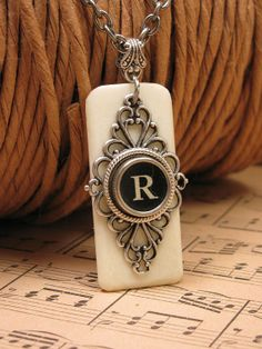 Piano Key Jewelry - Synthetic Ivory Piano Keytop with Black Initial R Typewriter Key Pendant Necklace