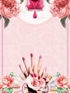 pink and beautiful flowers fresh nail advertising poster background material Home Nail Salon, Nail Salon Design, Nail Salon Decor, Privates Nagelstudio, Nail Logo, Polish Posters, Beauty Background, Manicure Y Pedicure, Advertising Poster