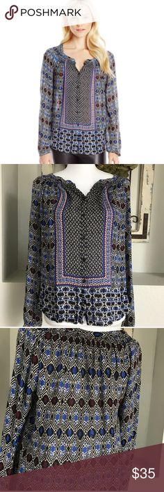 Lucky Brand Gypsy Ikat Blouse Lucky Brand Long Sleeve Sheer Blouse - Medium- Perfect for this upcoming Fall! Lucky Brand Tops Blouses