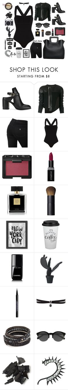 """Underpinning in black"" by imurzilkina ❤ liked on Polyvore featuring Miss Selfridge, Rick Owens, STELLA McCARTNEY, Khaite, NARS Cosmetics, Smashbox, Avon, Americanflat, Chanel and Fujifilm"