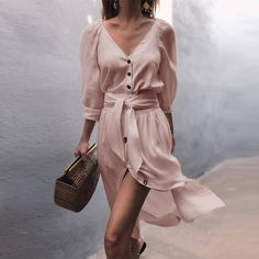 V-Neck Puff Sleeve Bandage Shirt Dress Women 2019 Solid Short Sleeve Single Breasted Vestidos Elegant Casual Summer Dresses Color WHITE Size S Dresses Short, Dress For Short Women, Casual Dresses, Wrap Dresses, Linen Dresses, Casual Outfits, Half Sleeve Dresses, Dresses With Sleeves, Sleeved Dress