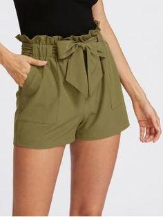 Casual Plain Regular Elastic Waist Mid Waist Army Green Self Tie Ruffle Waist Shorts with Belt