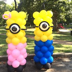 Minion balloon column pink and blue for a boy and a girl