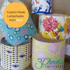 Custom made lampshades from $110 Lampshades, Custom Made, How To Make, Fabric, Tejido, Lamp Shades, Tela, Cloths, Fabrics