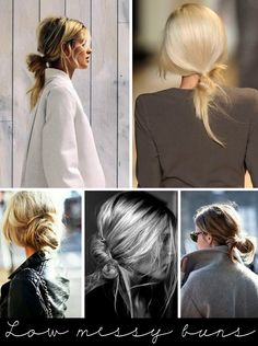 Hair trend: low, messy buns. I think this looks really great on blondes with many color grades in their fair locks.