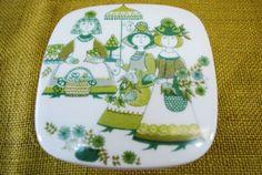 Figgjo-Flint-coberto-Manteiga-Prato-Turi-Mercado-design-Noruega-Verde-Porcelana