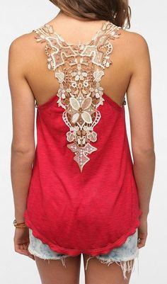 Scoop Neck Sleeveless Back Openwork Lace Backless Tank Top
