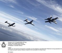 20111215raaf8185068_0572.JPG    Air To Air imagery of a Hawk-127, PC-9 and F/A-18 for the Commander Air Combat Group handover parade at RAAF Base Williamtown.     © Commonwealth of Australia
