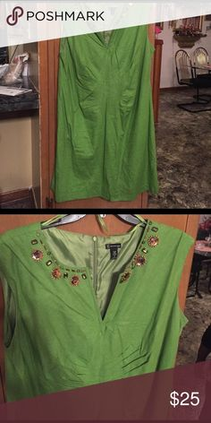 Cap sleeve green dress, 22W Green A-line dress with jeweled neckline, size 22W. Dress has bunching in upper waist area that gives a slimming effect. Fully lined. New Directions Dresses Midi
