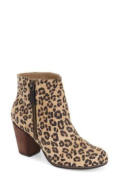 short side zipper accentuates the abbreviated style of this go-anywhere ankle bootie in a bold leopard print. Fall Booties, Ankle Booties, Leopard Bag, Leopard Boots, Leopard Prints, Cheetah, Fashion Boots, Me Too Shoes, Shoe Boots