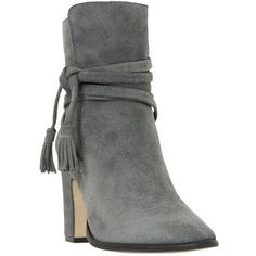 Dune Onyx Block Heeled Ankle Boot , Grey Suede