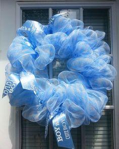 New Baby Mesh wreath  Boy by ShadesOfTheSeasons on Etsy, $40.00