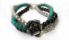 Turquoise+Jewelry+Polymer+Clay+Flower+Bracelet+by+RoyalPearls,+$20.00