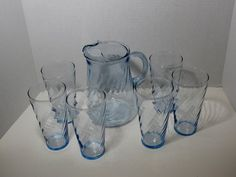 Ice blue Glass Pitcher and 6 large Tea Glasses 7 piece set Optic Swirl light blue swirl pitcher and 6 glasses 20 ounce glasses pale blue Creative Christmas Gifts, Creative Gifts, Wine Glass, Glass Vase, Tea Glasses, Amazing Shopping, Glass Pitchers, Light Blue, Ice