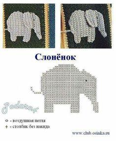 an elephant crochet motif Filet Crochet, Crochet Car, Crochet Amigurumi, Crochet Diagram, Irish Crochet, Crochet Motif Patterns, Applique Patterns, Crochet Stitches, Crochet Appliques