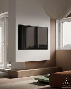 VEUS on Behance Apartment Interior Design, Decor Interior Design, Interior Decorating, Living Room Tv, Living Room Interior, Media Cabinet, Modern Wall, Architecture, Living Room Designs