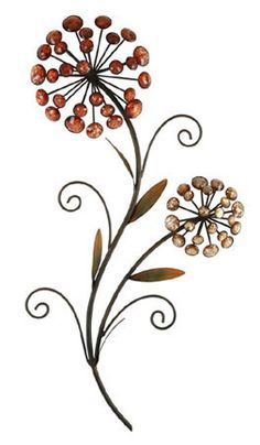 CONTEMPORARY 'CRYSTAL FLOWER BUNCHES' METAL WALL ART