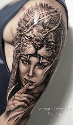 Tiger Tattoo Sleeve, Realistic Tattoo Sleeve, Lion Tattoo Sleeves, Arm Sleeve Tattoos, Tattoo Sleeve Designs, Arm Cover Up Tattoos, Cool Arm Tattoos, Girls With Sleeve Tattoos, Badass Tattoos