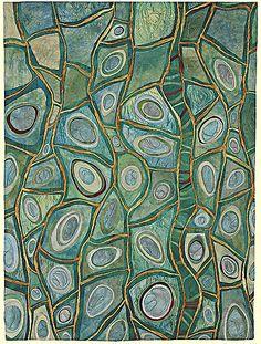 Roots of Rhythm VI: Karen Kamenetzky: Fiber Wall Art Rhythm Art, Raw Edge Applique, Claude Monet, Principles Of Design, Art Textile, Green Art, Aboriginal Art, Science Art, Silk Painting