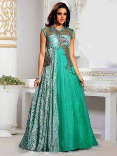 Green Net Wedding Gown
