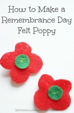 How to Make a Felt Poppy for Remembrance Day - - An easy sewing project to honour our veterans. Make a felt poppy for remembrance day. We share a free printable poppy template to use. Sewing Projects For Kids, Sewing For Kids, Diy Craft Projects, Sewing Crafts, Crafts For Kids, Tween Craft, Sewing Hacks, Poppy Template, Poppy Craft For Kids