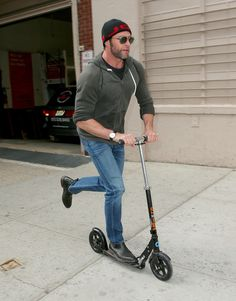 Hugh Jackman Is The King Of Scooters, not the scooters I'm interested in, but the man, OK!