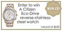 WIN a Citizen Eco-Drive reverse-stainless-steel watch!