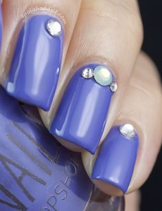 I  would love a dupe , for this blue,,it is dark, but lavender blue..type?? Topshop Blue Monday with Swarovski Crystals | A Polish Addict