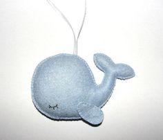 Wool Felt Whale Ornament, Sleepy Whale Ornament, Felt Whale, Blue Whale, Baby Shower Gifts, Birthday Gift, Nursery Decor, Wall Decor, Gift