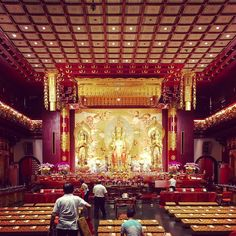 when i visited the Buddha Tooth Relic Temple workers were preparing for an upcoming service. but this did not detract from the stunning #interior of shimmering #gold. #architecture #buddhist #buddhism #chinatown #chinese #travel #singapore #southeastasia #asia
