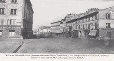 Paris 13e - La rue Mouffetard, auj. avenue des Gobelins, à l'angle de la rue de Gentilly, auj. rue Abel Hovelaque, vers 1867 .