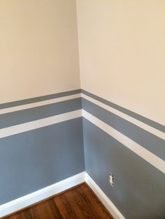 Color block with stripe accents for Jamison& nursery! Used scotch blue tape and behr paint! Hardest part was taping ! Painting Stripes On Walls, Wall Painting Decor, Paint Stripes, Bedroom Wall Designs, Bedroom Decor, Striped Walls, Living Room Paint, Room Colors, Home Decor Styles