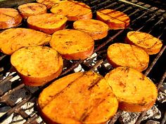 Grilled Cinnamon Sweet Potatoes  3 medium sweet potatoes   olive oil   kosher salt    cinnamon  - Slice  1/2″ thick slices  - boil and cook for 3-5 minutes.   - move the potatoes to a bowl of cool water for 10 min to cool.   - pat them dry.   - coat with olive oil.   -Sprinkle with salt and cinnamon.    grill, spiced side down, over medium-high heat, and repat  -Cook until tender