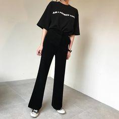 Korean Fashion Work, Asian Fashion, Girl Fashion, Fashion Outfits, Aesthetic Fashion, Aesthetic Clothes, Ulzzang Fashion, Korean Outfits, Black Slacks Outfit