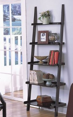 Unique 72 High Leaning Ladder Style Magazine Book Shelf On Black Finish 7 Decor, Decor Collection, Leaning Bookcase, Home Office Furniture, Shelves, Black Ladder Shelf, Interior, Ladder Bookshelf, Home Decor